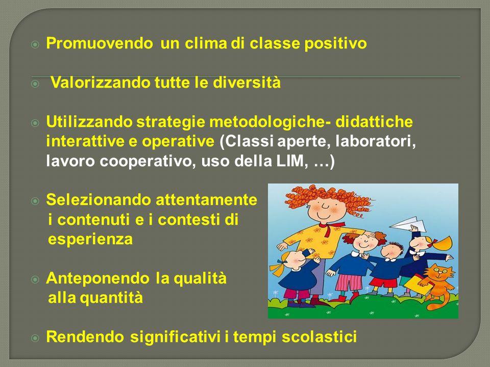  Promuovendo un clima di classe positivo  Valorizzando tutte le diversità  Utilizzando strategie metodologiche- didattiche interattive e operative