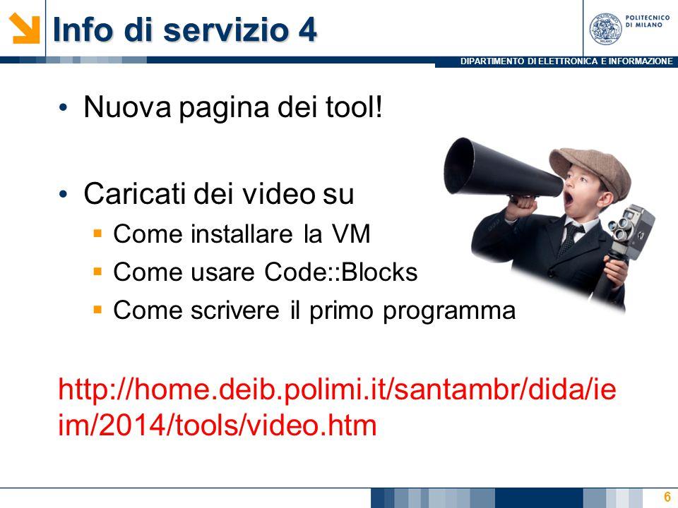 DIPARTIMENTO DI ELETTRONICA E INFORMAZIONE Info di servizio 4 Nuova pagina dei tool.