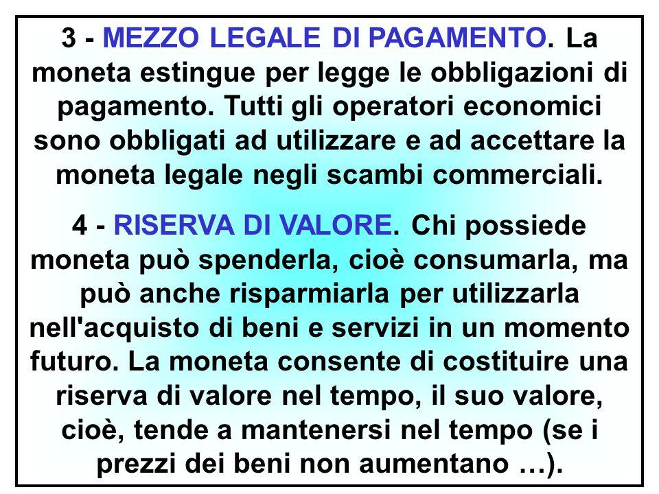 12 3 - MEZZO LEGALE DI PAGAMENTO. La moneta estingue per legge le obbligazioni di pagamento. Tutti gli operatori economici sono obbligati ad utilizzar