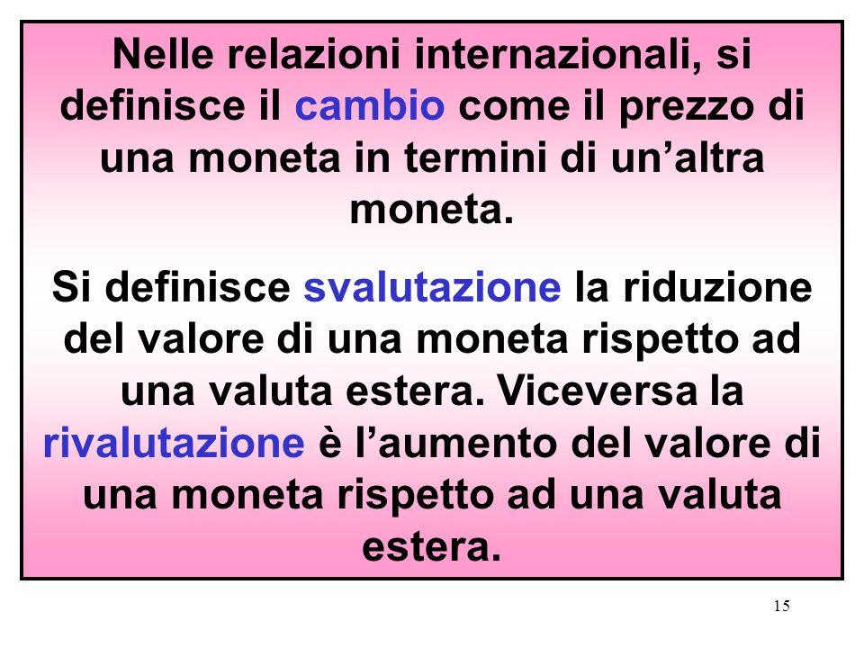 15 Nelle relazioni internazionali, si definisce il cambio come il prezzo di una moneta in termini di un'altra moneta. Si definisce svalutazione la rid