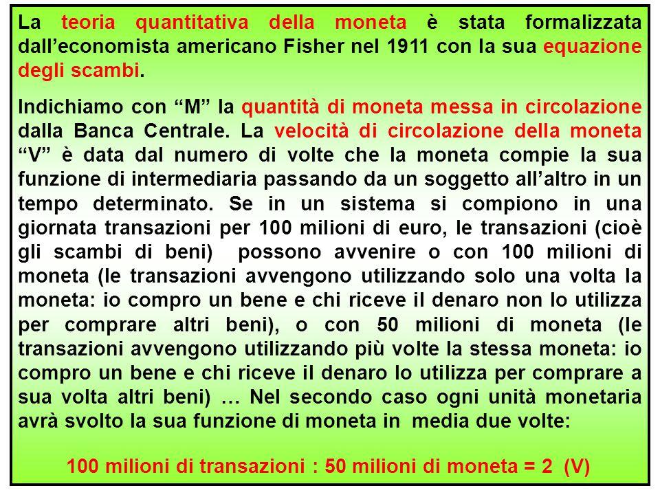 19 La teoria quantitativa della moneta è stata formalizzata dall'economista americano Fisher nel 1911 con la sua equazione degli scambi. Indichiamo co