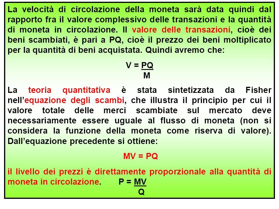 20 La velocità di circolazione della moneta sarà data quindi dal rapporto fra il valore complessivo delle transazioni e la quantità di moneta in circo