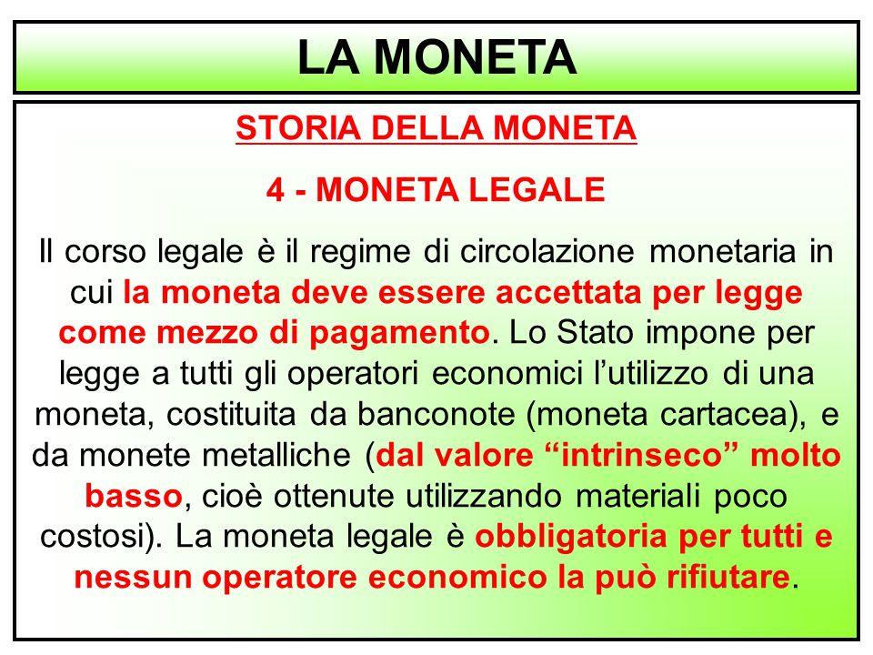 5 STORIA DELLA MONETA 4 - MONETA LEGALE Il corso legale è il regime di circolazione monetaria in cui la moneta deve essere accettata per legge come me