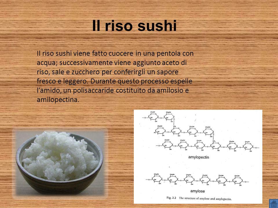 Il riso sushi Il riso sushi viene fatto cuocere in una pentola con acqua; successivamente viene aggiunto aceto di riso, sale e zucchero per conferirgli un sapore fresco e leggero.