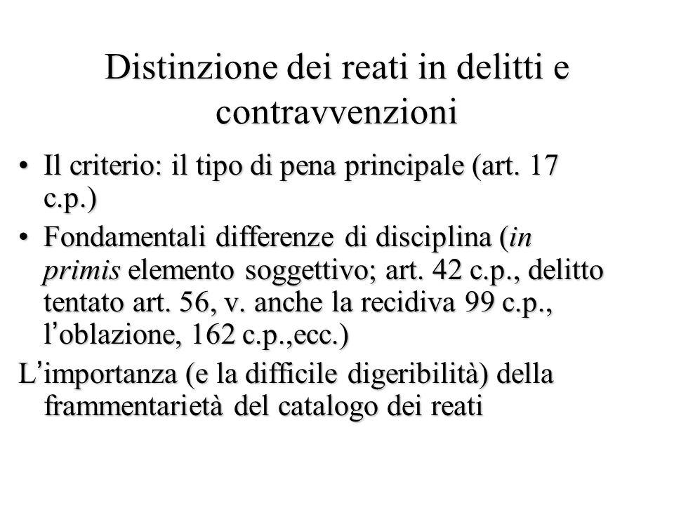 Distinzione dei reati in delitti e contravvenzioni Il criterio: il tipo di pena principale (art. 17 c.p.)Il criterio: il tipo di pena principale (art.