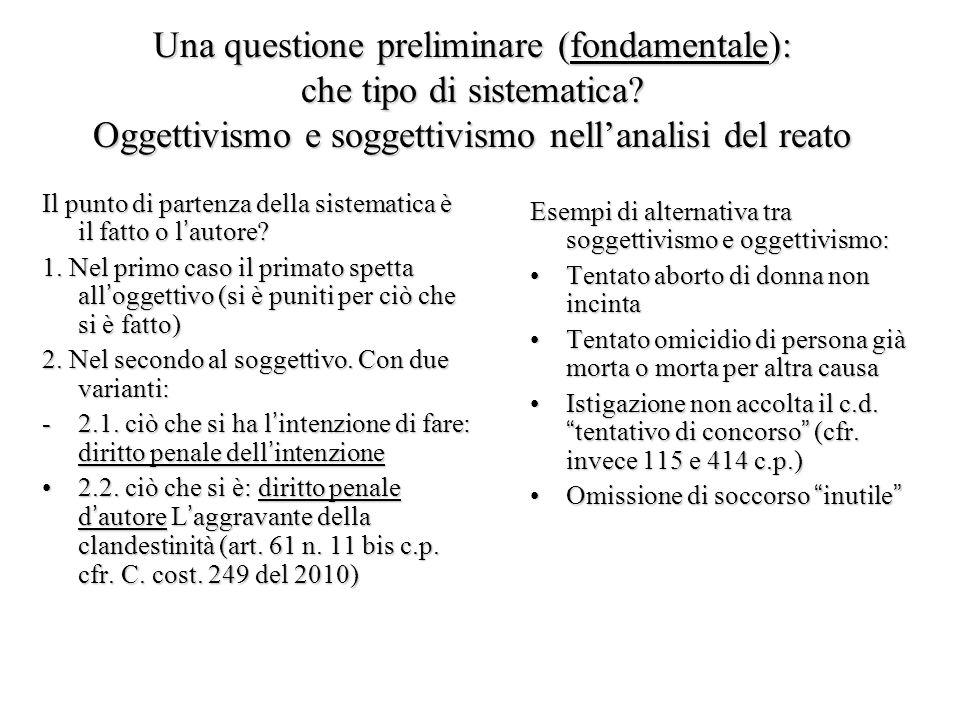 Una questione preliminare (fondamentale): che tipo di sistematica? Oggettivismo e soggettivismo nell'analisi del reato Il punto di partenza della sist