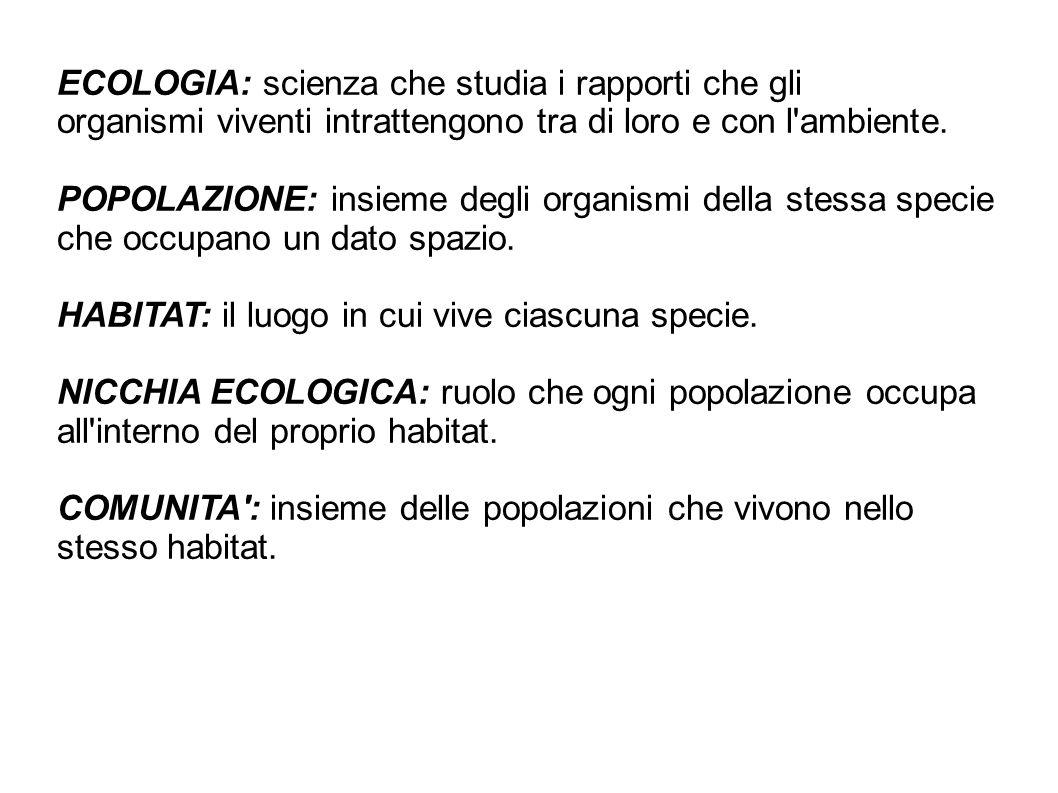 ECOLOGIA: scienza che studia i rapporti che gli organismi viventi intrattengono tra di loro e con l'ambiente. POPOLAZIONE: insieme degli organismi del