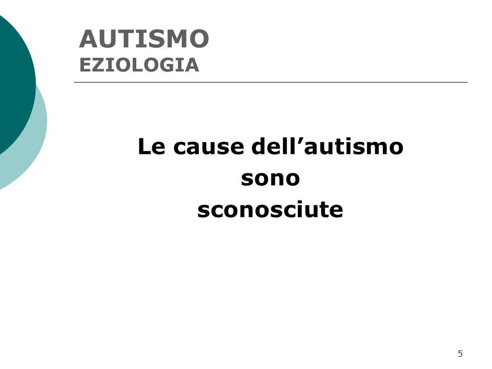 5 AUTISMO EZIOLOGIA Le cause dell'autismo sono sconosciute