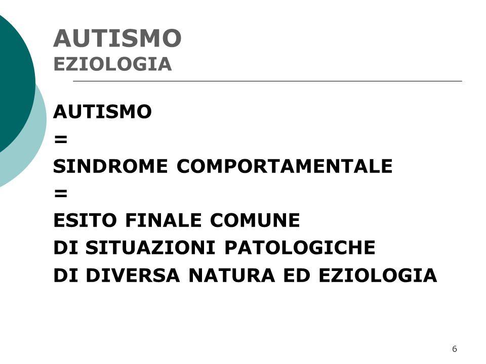 6 AUTISMO EZIOLOGIA AUTISMO = SINDROME COMPORTAMENTALE = ESITO FINALE COMUNE DI SITUAZIONI PATOLOGICHE DI DIVERSA NATURA ED EZIOLOGIA