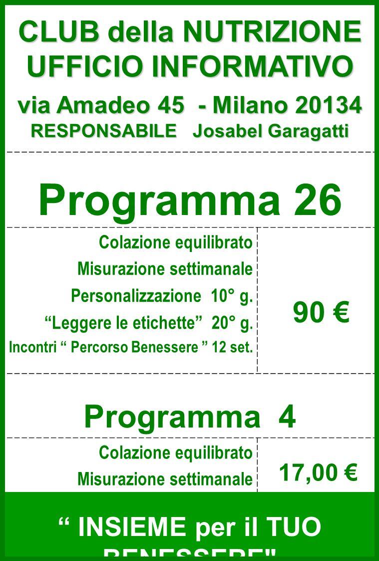 Programma 26 Colazione equilibrato Misurazione settimanale Personalizzazione 10° g.