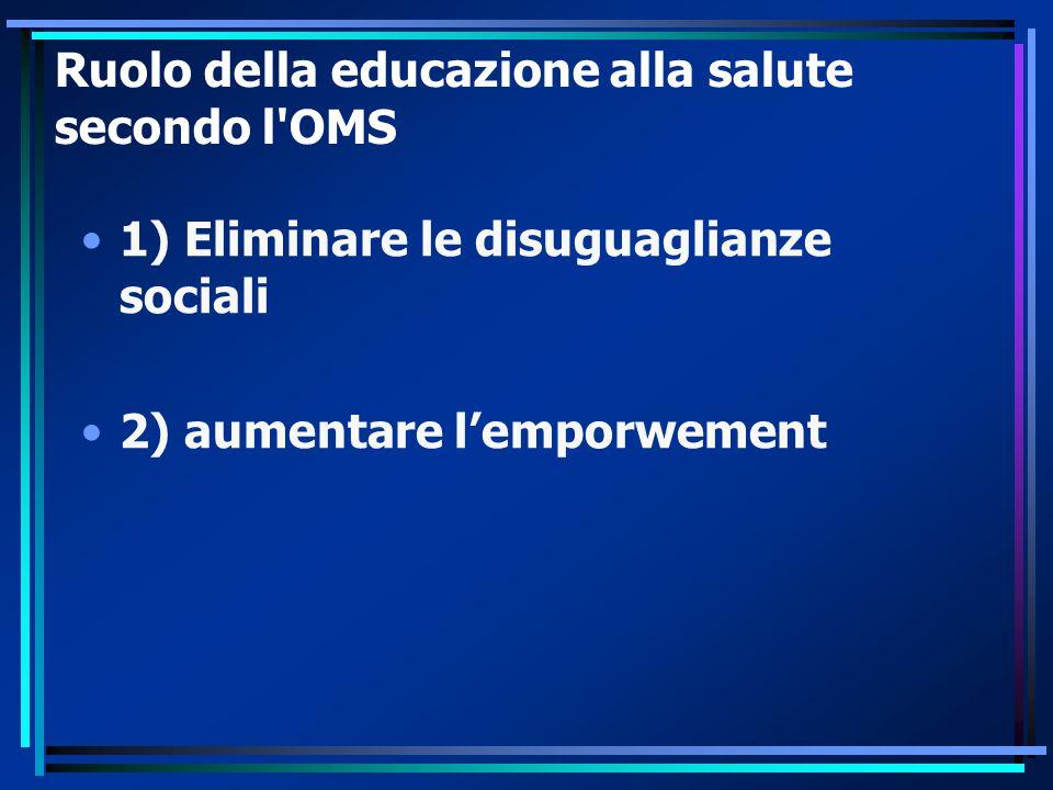 Ruolo della educazione alla salute secondo l'OMS 1) Eliminare le disuguaglianze sociali 2) aumentare l'emporwement