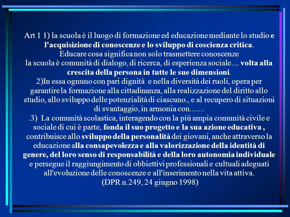 Art 1 1) la scuola è il luogo di formazione ed educazione mediante lo studio e l'acquisizione di conoscenze e lo sviluppo di coscienza critica. Educar