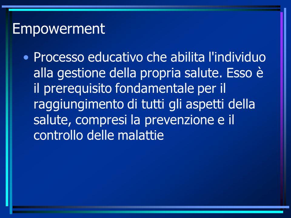 Empowerment Processo educativo che abilita l'individuo alla gestione della propria salute. Esso è il prerequisito fondamentale per il raggiungimento d
