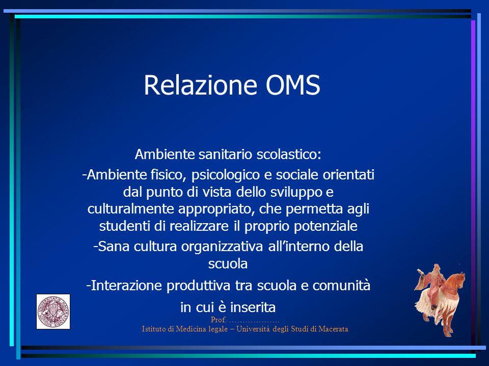 Prof. ………………. Istituto di Medicina legale – Università degli Studi di Macerata Relazione OMS Ambiente sanitario scolastico: -Ambiente fisico, psicolog