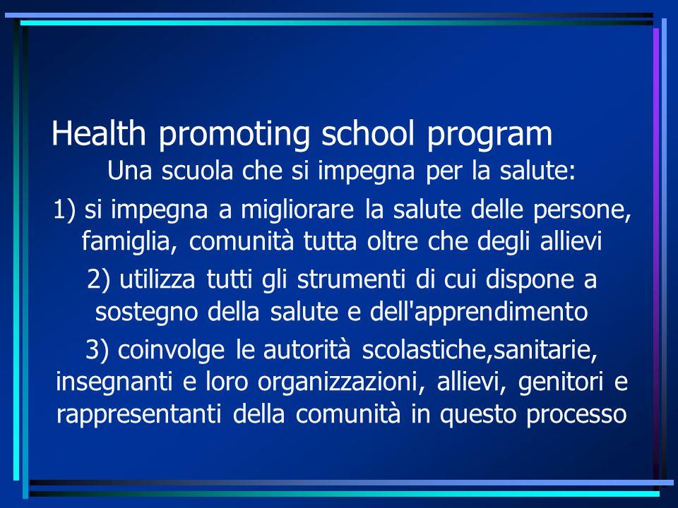 Health promoting school program Una scuola che si impegna per la salute: 1) si impegna a migliorare la salute delle persone, famiglia, comunità tutta