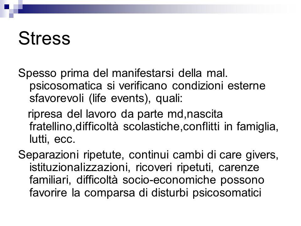 Stress Spesso prima del manifestarsi della mal. psicosomatica si verificano condizioni esterne sfavorevoli (life events), quali: ripresa del lavoro da