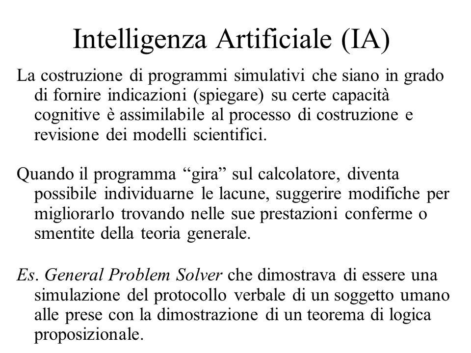 Intelligenza Artificiale (IA) La costruzione di programmi simulativi che siano in grado di fornire indicazioni (spiegare) su certe capacità cognitive è assimilabile al processo di costruzione e revisione dei modelli scientifici.