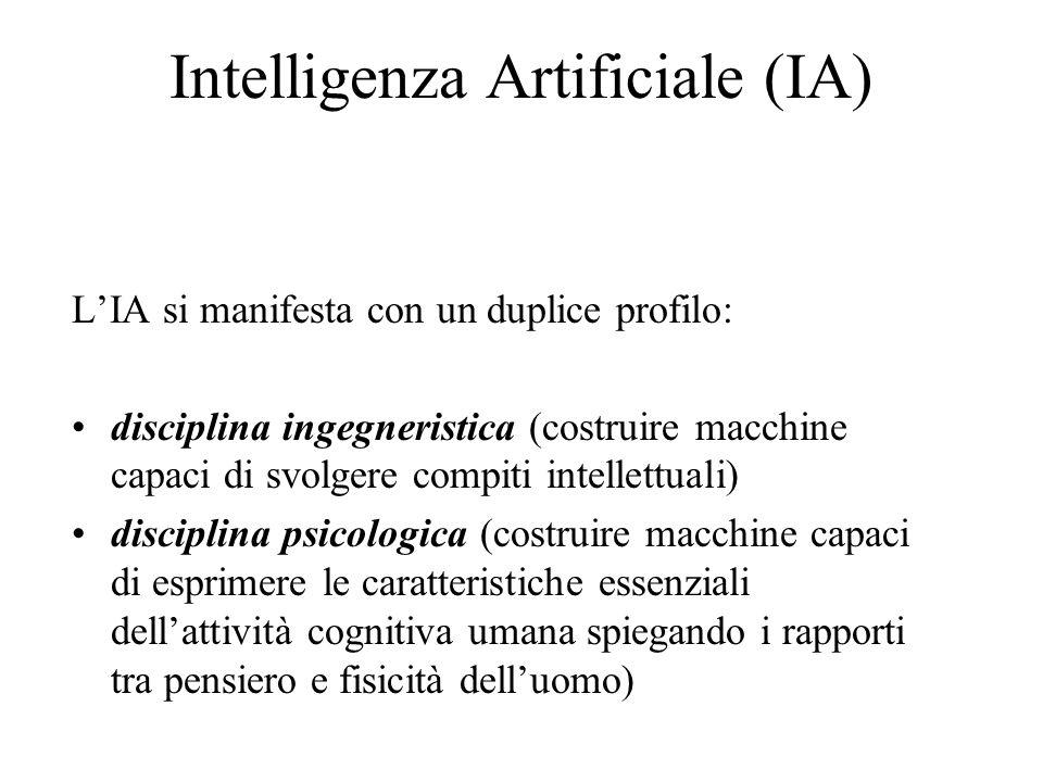 Intelligenza Artificiale (IA) L'IA si manifesta con un duplice profilo: disciplina ingegneristica (costruire macchine capaci di svolgere compiti intellettuali) disciplina psicologica (costruire macchine capaci di esprimere le caratteristiche essenziali dell'attività cognitiva umana spiegando i rapporti tra pensiero e fisicità dell'uomo)