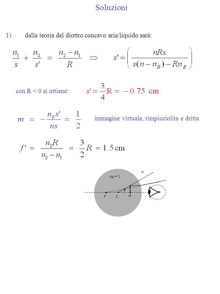 Soluzioni 1)dalla teoria del diottro concavo aria/liquido sarà: con R < 0 si ottiene: immagine virtuale, rimpicciolita e dritta C A n B = 1 n F