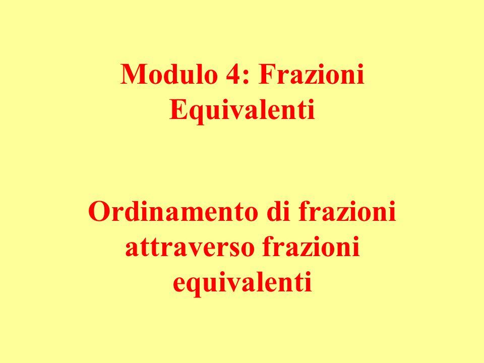 Modulo 4: Frazioni Equivalenti Ordinamento di frazioni attraverso frazioni equivalenti
