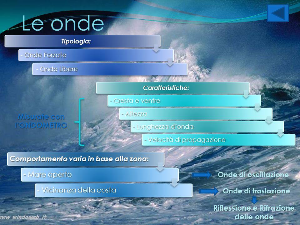 Le onde Caratteristiche: - Cresta e ventre - Altezza - Lunghezza d'onda - Velocità di propagazione Tipologia: - Onde Forzate - Onde Libere - Onde Libe
