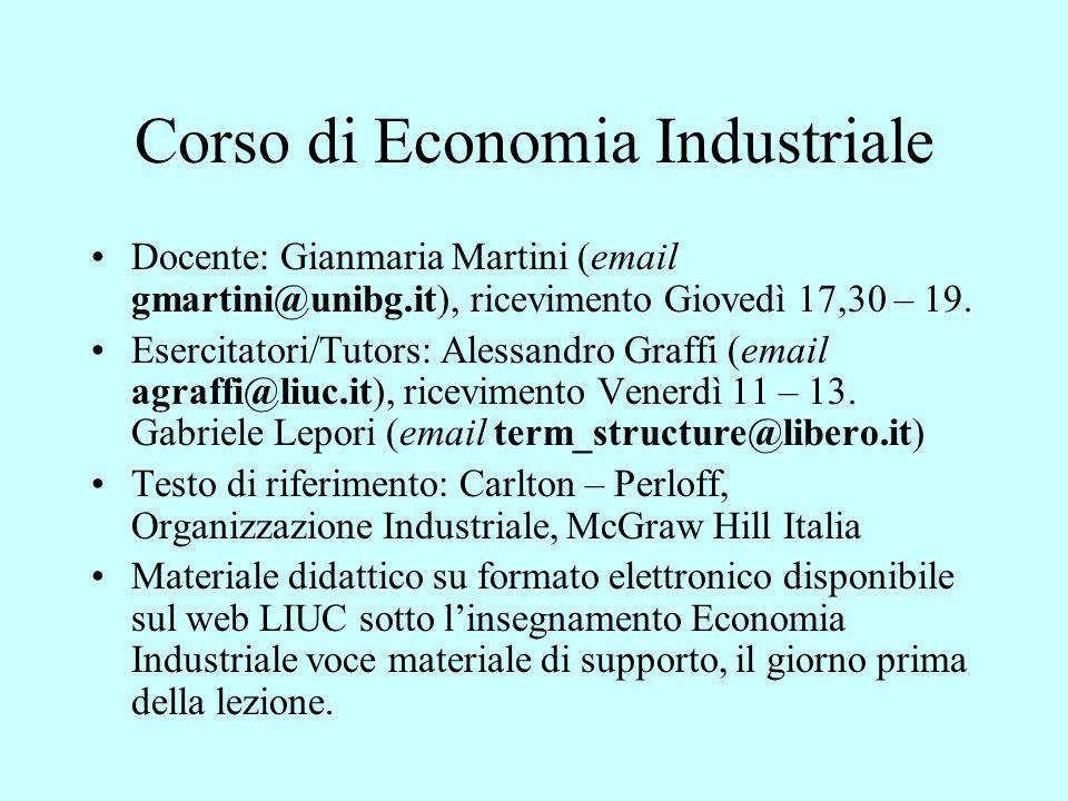Corso di Economia Industriale Docente: Gianmaria Martini (email gmartini@unibg.it), ricevimento Giovedì 17,30 – 19. Esercitatori/Tutors: Alessandro Gr