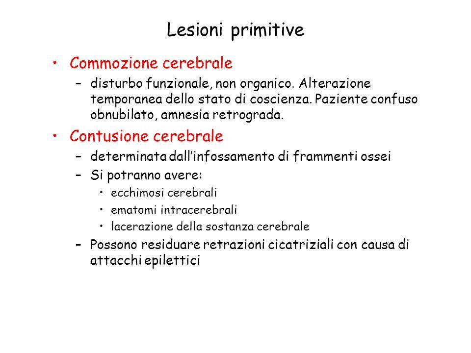 Lesioni primitive Commozione cerebrale –disturbo funzionale, non organico. Alterazione temporanea dello stato di coscienza. Paziente confuso obnubilat