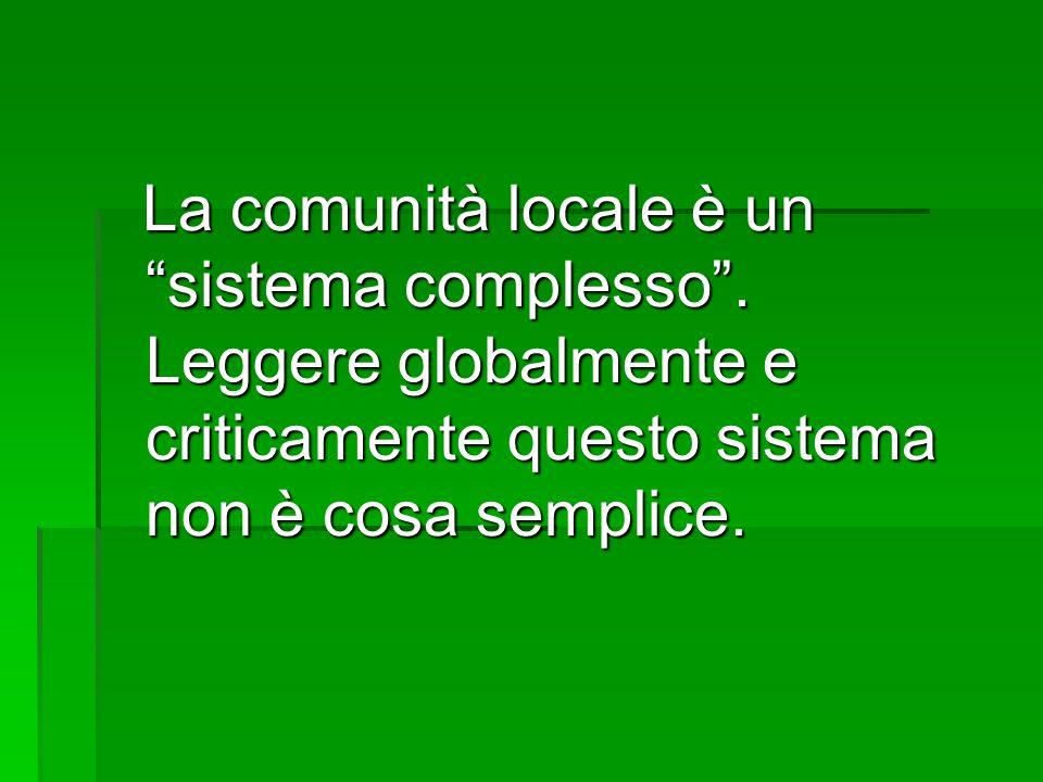 La comunità locale è un sistema complesso .