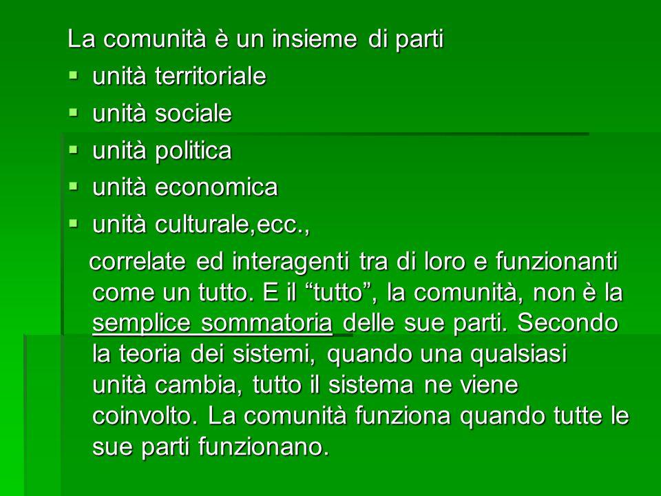 La comunità è un insieme di parti  unità territoriale  unità sociale  unità politica  unità economica  unità culturale,ecc., correlate ed interagenti tra di loro e funzionanti come un tutto.