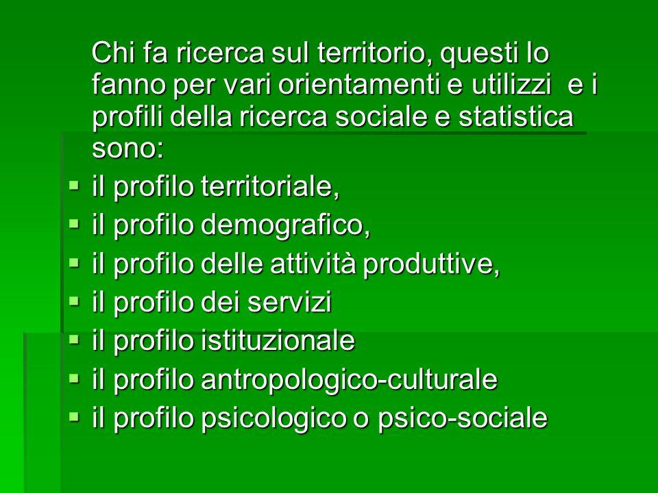 Chi fa ricerca sul territorio, questi lo fanno per vari orientamenti e utilizzi e i profili della ricerca sociale e statistica sono: Chi fa ricerca sul territorio, questi lo fanno per vari orientamenti e utilizzi e i profili della ricerca sociale e statistica sono:  il profilo territoriale,  il profilo demografico,  il profilo delle attività produttive,  il profilo dei servizi  il profilo istituzionale  il profilo antropologico-culturale  il profilo psicologico o psico-sociale