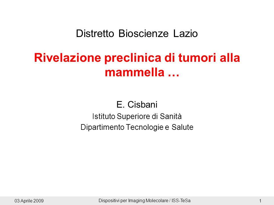 03 Aprile 2009 Dispositivi per Imaging Molecolare / ISS-TeSa 1 Distretto Bioscienze Lazio Rivelazione preclinica di tumori alla mammella … E. Cisbani
