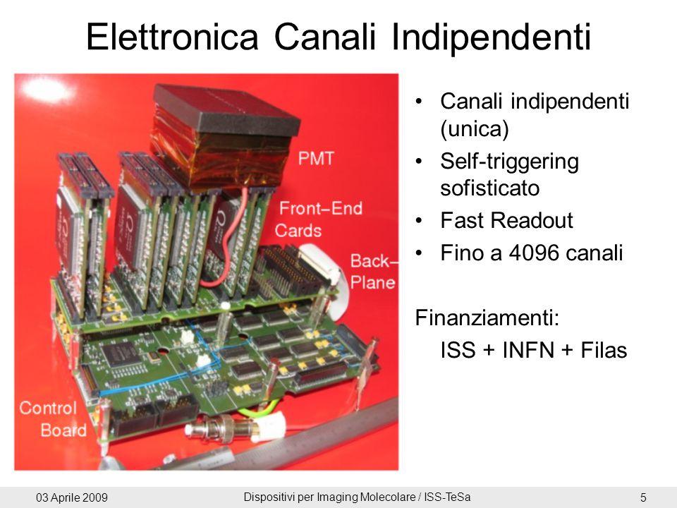 03 Aprile 2009 Dispositivi per Imaging Molecolare / ISS-TeSa 5 Elettronica Canali Indipendenti Canali indipendenti (unica) Self-triggering sofisticato