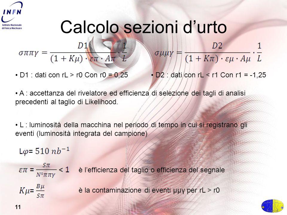 11 Calcolo sezioni d'urto D1 : dati con rL > r0 Con r0 = 0,25 D2 : dati con rL < r1 Con r1 = -1,25 A : accettanza del rivelatore ed efficienza di selezione dei tagli di analisi precedenti al taglio di Likelihood.