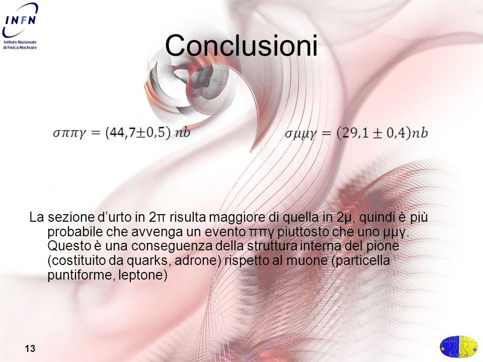 13 Conclusioni La sezione d'urto in 2π risulta maggiore di quella in 2μ, quindi è più probabile che avvenga un evento ππγ piuttosto che uno μμγ.