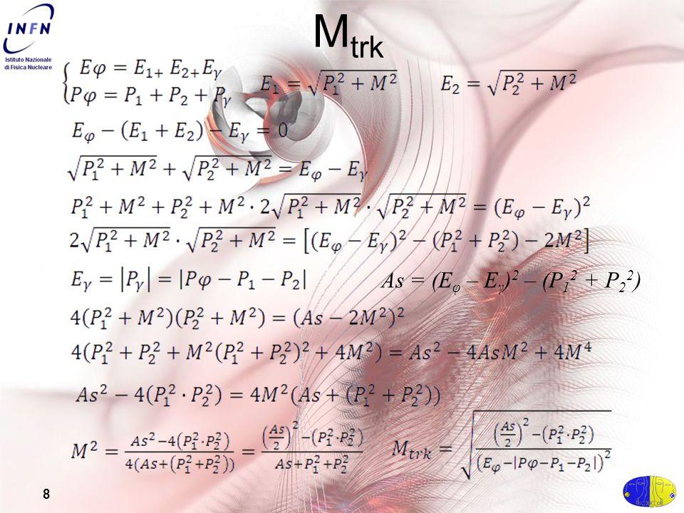 8 M trk As = (E φ – E γ ) 2 – (P 1 2 + P 2 2 )