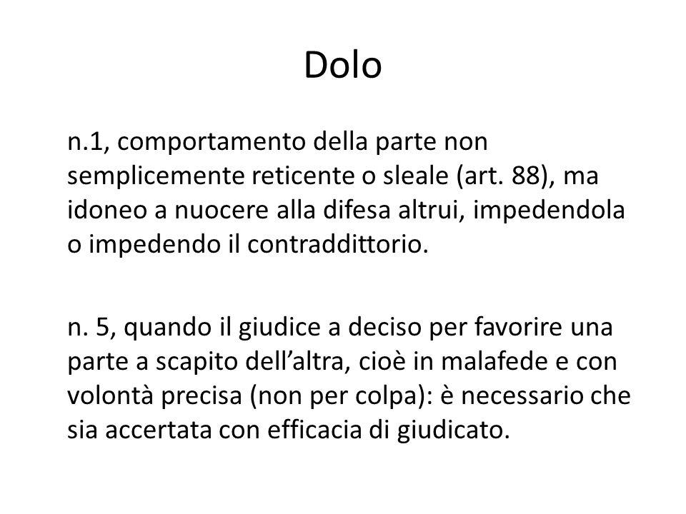 Dolo n.1, comportamento della parte non semplicemente reticente o sleale (art.