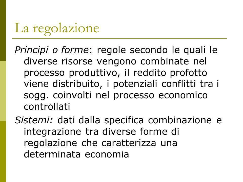 La regolazione Principi o forme: regole secondo le quali le diverse risorse vengono combinate nel processo produttivo, il reddito profotto viene distribuito, i potenziali conflitti tra i sogg.