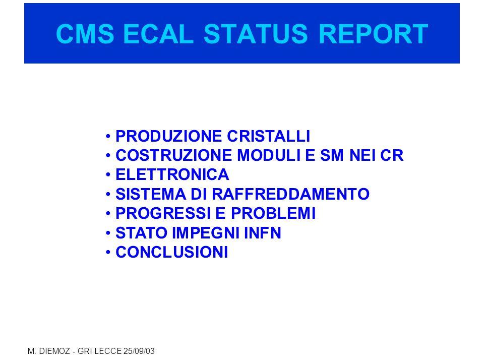 M. DIEMOZ - GRI LECCE 25/09/03 CMS ECAL STATUS REPORT PRODUZIONE CRISTALLI COSTRUZIONE MODULI E SM NEI CR ELETTRONICA SISTEMA DI RAFFREDDAMENTO PROGRE