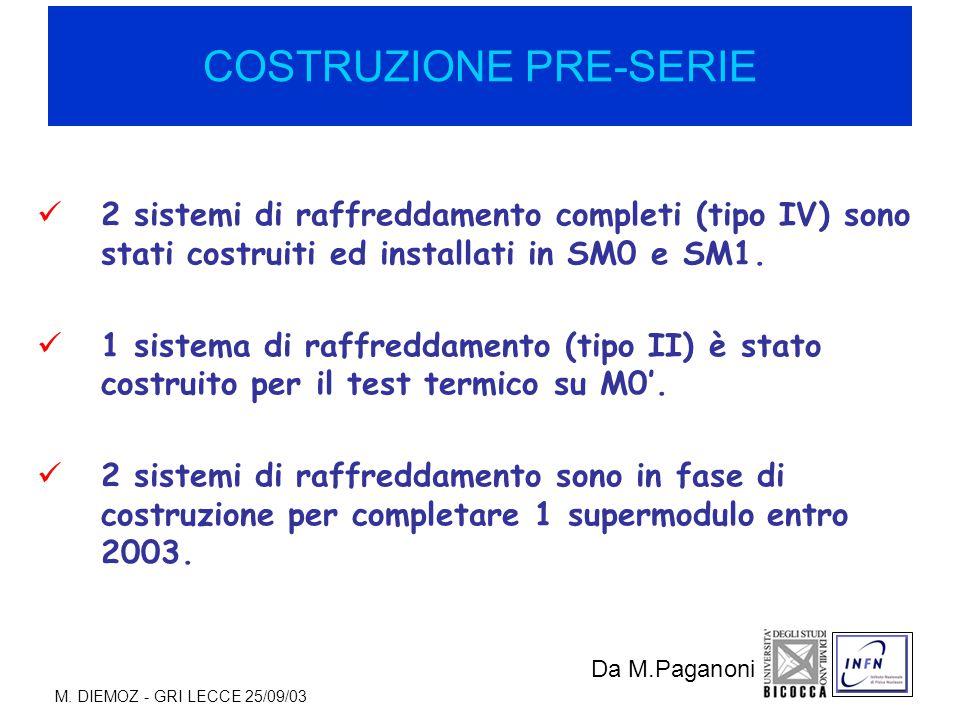 M. DIEMOZ - GRI LECCE 25/09/03 COSTRUZIONE PRE-SERIE 2 sistemi di raffreddamento completi (tipo IV) sono stati costruiti ed installati in SM0 e SM1. 1