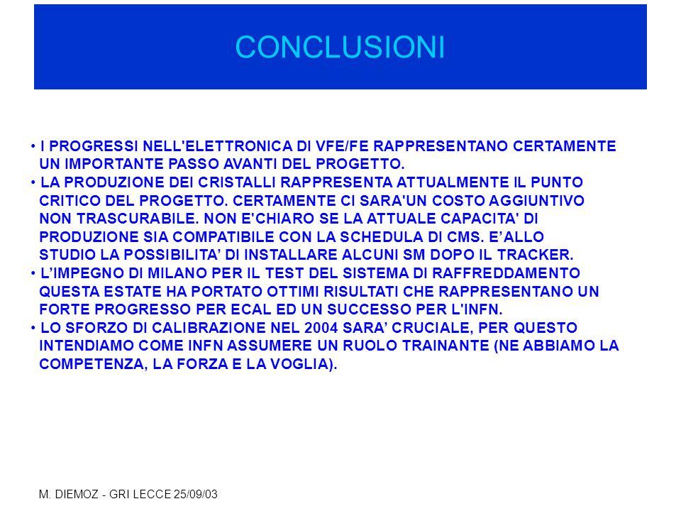 M. DIEMOZ - GRI LECCE 25/09/03 CONCLUSIONI I PROGRESSI NELL'ELETTRONICA DI VFE/FE RAPPRESENTANO CERTAMENTE UN IMPORTANTE PASSO AVANTI DEL PROGETTO. LA