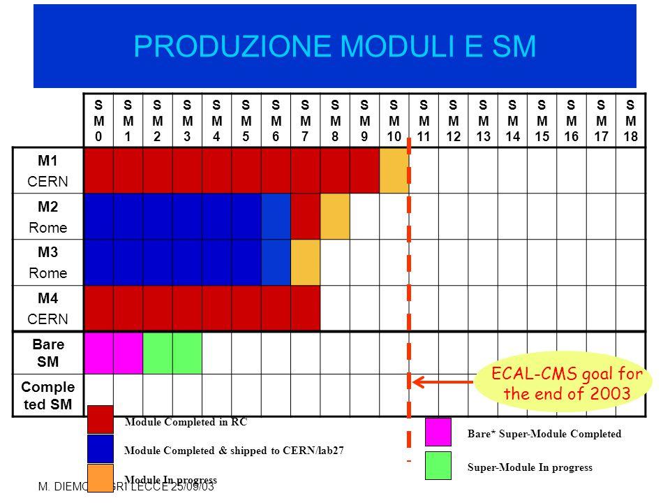 M. DIEMOZ - GRI LECCE 25/09/03 PRODUZIONE SUPER MODULI