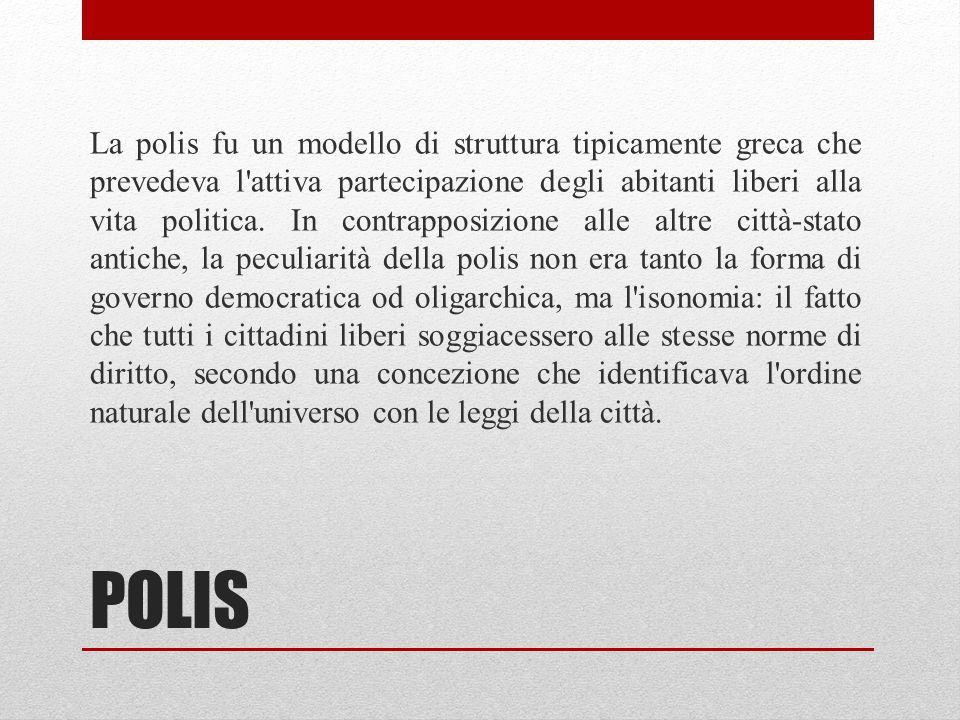 POLIS La polis fu un modello di struttura tipicamente greca che prevedeva l'attiva partecipazione degli abitanti liberi alla vita politica. In contrap