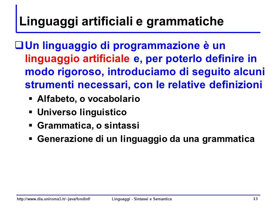 http://www.dia.uniroma3.it/~java/fondinf/Linguaggi - Sintassi e Semantica 13 Linguaggi artificiali e grammatiche  Un linguaggio di programmazione è un linguaggio artificiale e, per poterlo definire in modo rigoroso, introduciamo di seguito alcuni strumenti necessari, con le relative definizioni  Alfabeto, o vocabolario  Universo linguistico  Grammatica, o sintassi  Generazione di un linguaggio da una grammatica