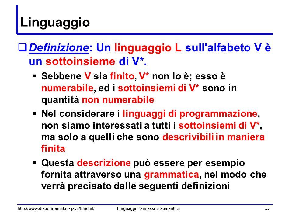 http://www.dia.uniroma3.it/~java/fondinf/Linguaggi - Sintassi e Semantica 15 Linguaggio  Definizione: Un linguaggio L sull alfabeto V è un sottoinsieme di V*.