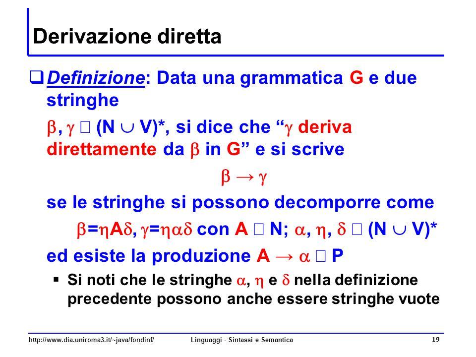 http://www.dia.uniroma3.it/~java/fondinf/Linguaggi - Sintassi e Semantica 20 Derivazione  In modo semplice si può definire una catena di derivazioni dirette   →   →   … →  n o anche   → n  n  Definizione.
