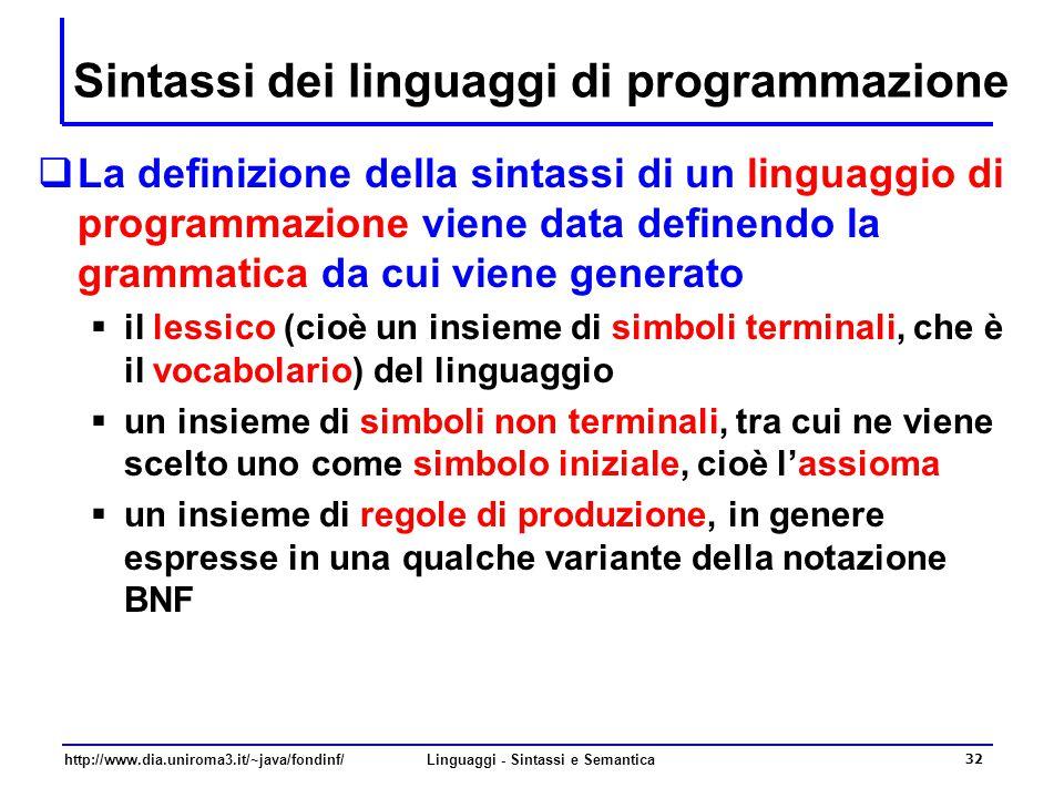 http://www.dia.uniroma3.it/~java/fondinf/Linguaggi - Sintassi e Semantica 32 Sintassi dei linguaggi di programmazione  La definizione della sintassi di un linguaggio di programmazione viene data definendo la grammatica da cui viene generato  il lessico (cioè un insieme di simboli terminali, che è il vocabolario) del linguaggio  un insieme di simboli non terminali, tra cui ne viene scelto uno come simbolo iniziale, cioè l'assioma  un insieme di regole di produzione, in genere espresse in una qualche variante della notazione BNF