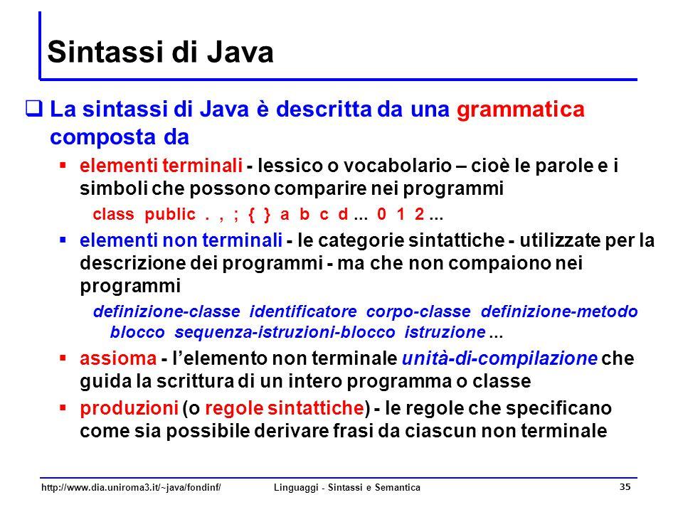 http://www.dia.uniroma3.it/~java/fondinf/Linguaggi - Sintassi e Semantica 35 Sintassi di Java  La sintassi di Java è descritta da una grammatica composta da  elementi terminali - lessico o vocabolario – cioè le parole e i simboli che possono comparire nei programmi class public., ; { } a b c d...