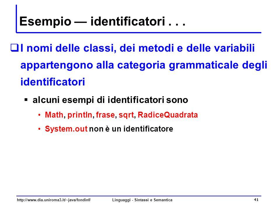 http://www.dia.uniroma3.it/~java/fondinf/Linguaggi - Sintassi e Semantica 41 Esempio — identificatori...