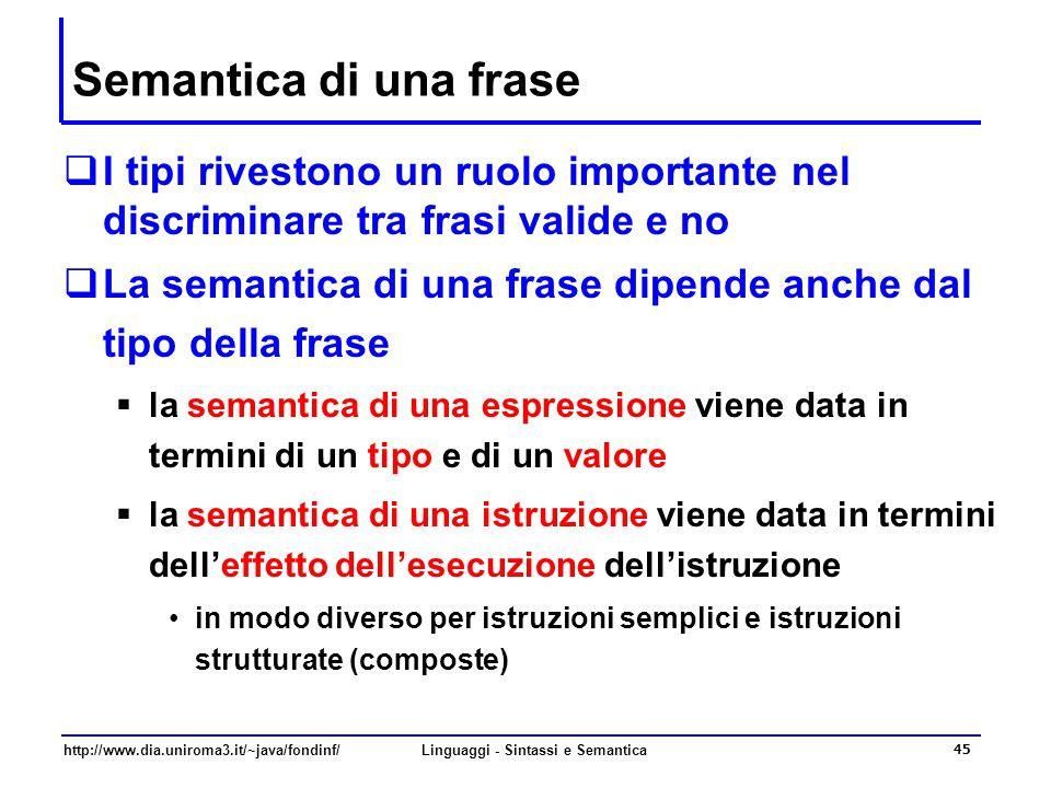 http://www.dia.uniroma3.it/~java/fondinf/Linguaggi - Sintassi e Semantica 45 Semantica di una frase  I tipi rivestono un ruolo importante nel discriminare tra frasi valide e no  La semantica di una frase dipende anche dal tipo della frase  la semantica di una espressione viene data in termini di un tipo e di un valore  la semantica di una istruzione viene data in termini dell'effetto dell'esecuzione dell'istruzione in modo diverso per istruzioni semplici e istruzioni strutturate (composte)