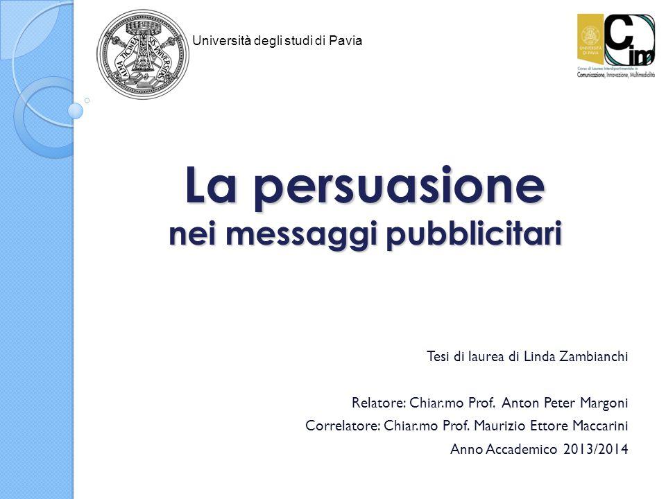 La persuasione nei messaggi pubblicitari Tesi di laurea di Linda Zambianchi Relatore: Chiar.mo Prof. Anton Peter Margoni Correlatore: Chiar.mo Prof. M
